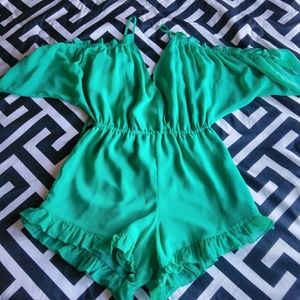 Lovers and Friends Turquoise Shorts Romper Sz S